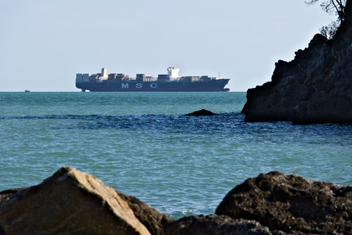 A cargo ship on the horizon in the green sea. Foto navi. Ships photo.