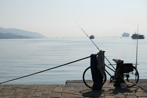 A fisherman's bicycle parked on the dock. - MyVideoimage.com | Foto stock & Video footage