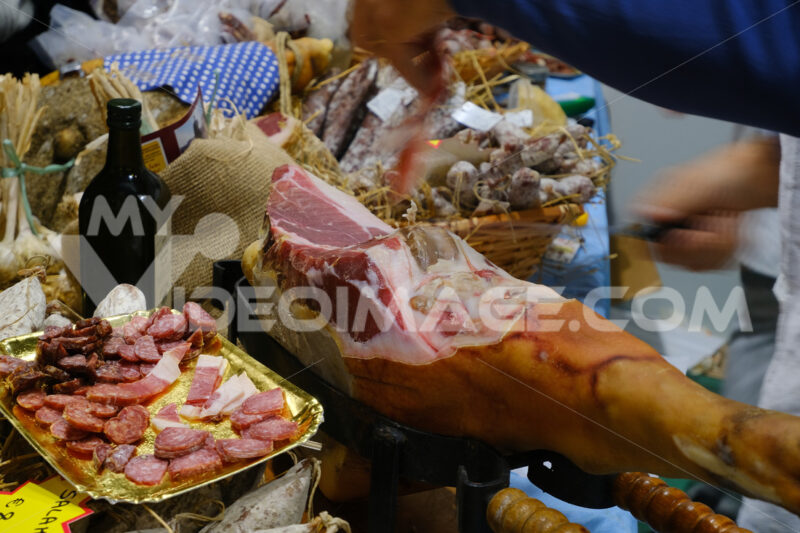 A sliced cured meat Prosciutto di Parma and cured meats - MyVideoimage.com
