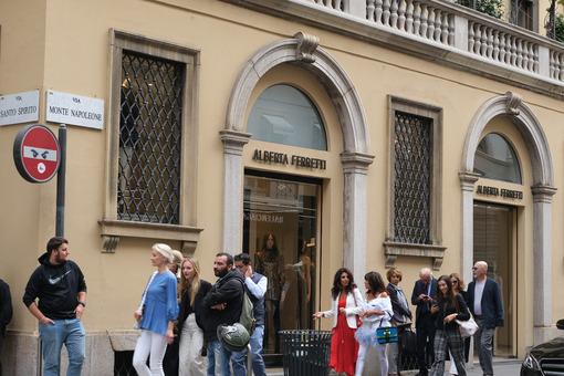 Alberta Ferretti boutique  with shop windows on Via Montenapoleo - MyVideoimage.com