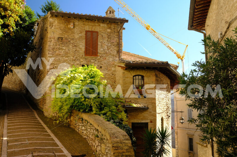 Alley of the city of Assisi with stone facades of historic houses. Bushes of green plants and people walking in the alley. - MyVideoimage.com