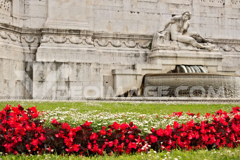 Altar of the Fatherland or Vittoriano in Piazza Venezia in Rome. Detail of a sculpture and a meadow with grass and red flowers. - MyVideoimage.com