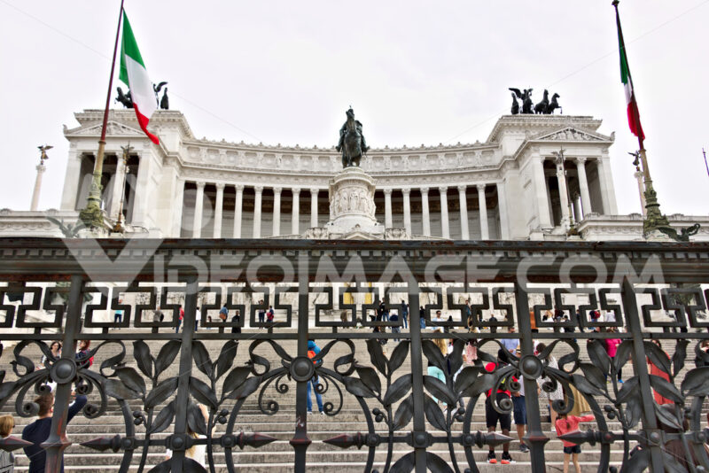 Altar of the Fatherland or Vittoriano in Piazza Venezia in Rome. Large monument with colonnade made of Botticino marble. - LEphotoart.com