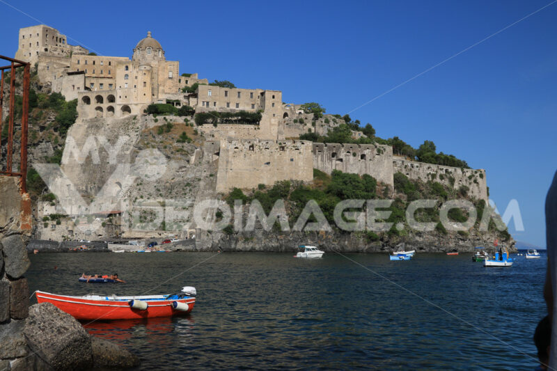Ancient Aragonese Castle in Ischia Ponte. The fortification . Foto Ischia photos.