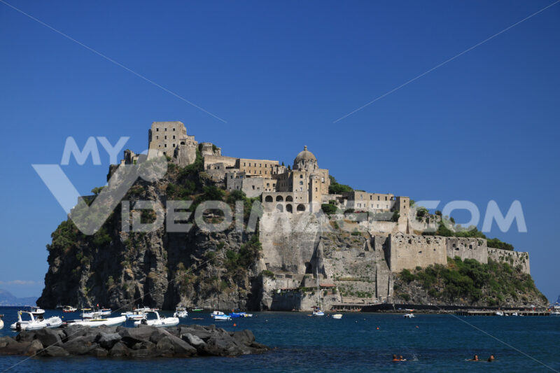Ancient Aragonese Castle in Ischia Ponte. The fortification. Foto Ischia photos.