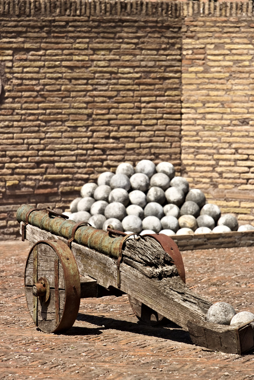 Ancient cannons and marble balls. - MyVideoimage.com