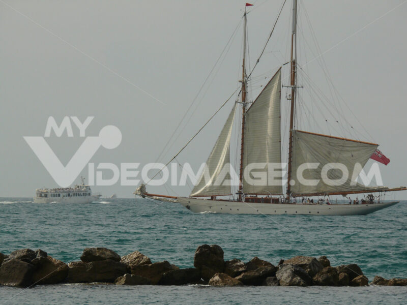 Ancient sailing vessel in the Ligurian sea. - MyVideoimage.com