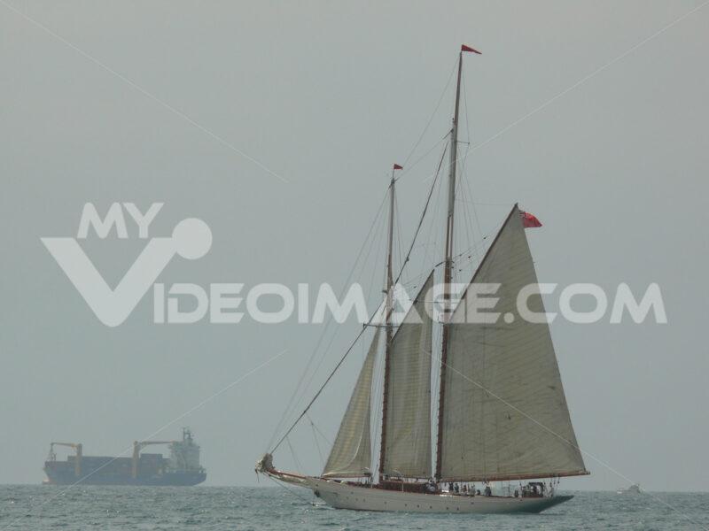 Ancient sailing vessel in the Ligurian sea. - MyVideoimage.com