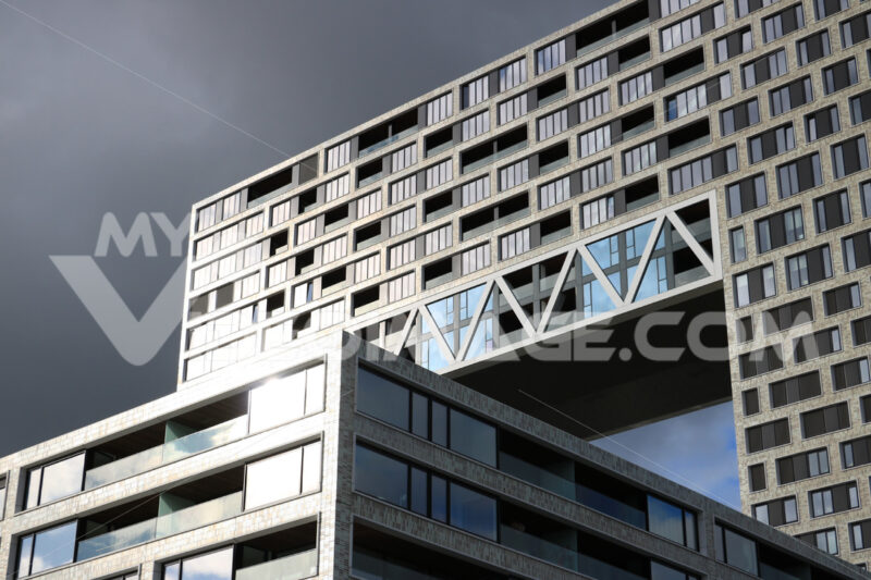 Apartment building in Amsterdam Pontsteiger. The building is loc - MyVideoimage.com
