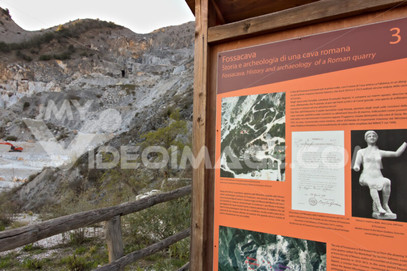 Apuan Alps, Carrara, Tuscany, Italy. March 28, 2019. Ancient quarry of white marble from the Roman period - MyVideoimage.com