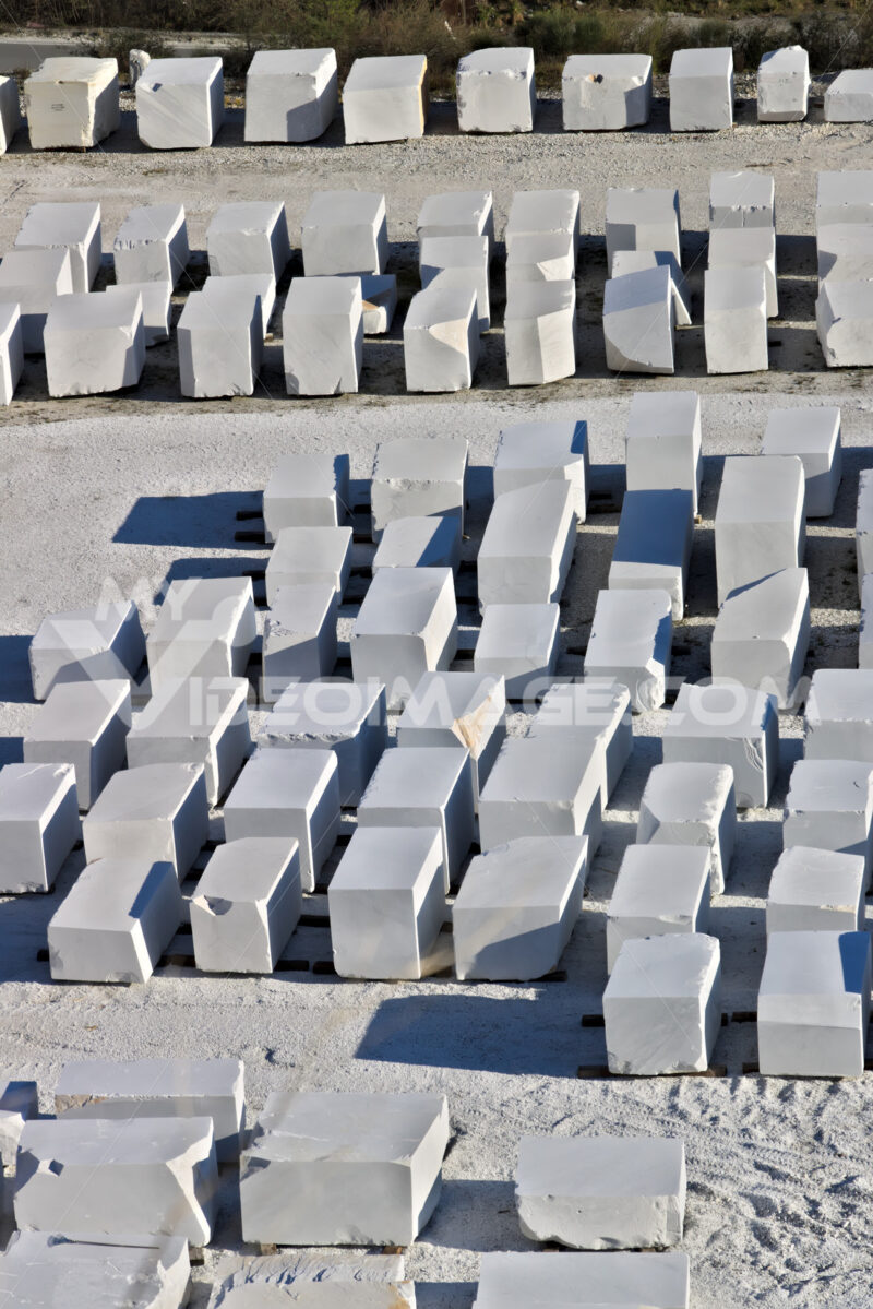 Apuan Alps, Carrara, Tuscany, Italy. March 28, 2019. White Carrara marble blocks in a warehouse - LEphotoart.com