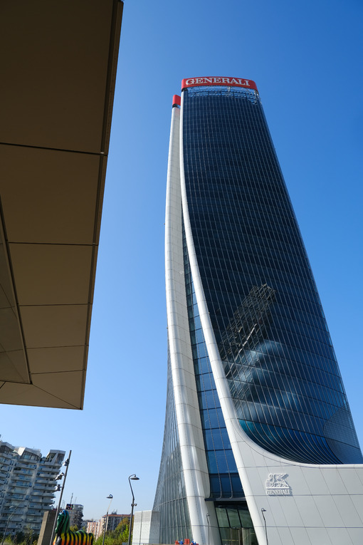 Assicurazioni Generali tower of Zaha Hadid, a complex of three towers. Milan.CityLife includes three skyscrapers and pedestrian areas with greenery. - LEphotoart.com