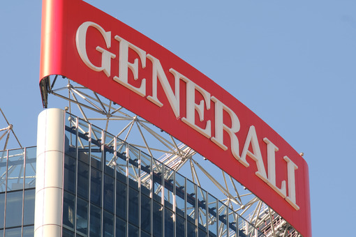 Assicurazioni Generali tower with sign logo. Three towers. Milan. CityLife includes three skyscrapers and pedestrian areas with greenery. Company building - LEphotoart.com