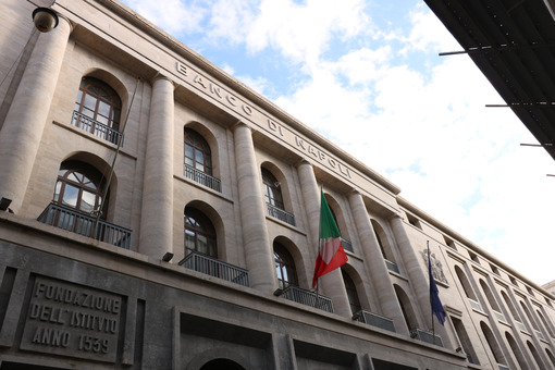 Banco di Napoli. Facade of the building in fascist style headquarters of the Italian bank. - MyVideoimage.com