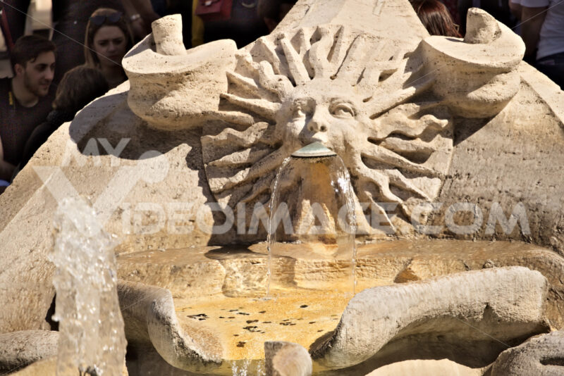 Barcaccia Fountain in Piazza di Spagna in Rome. - MyVideoimage.com