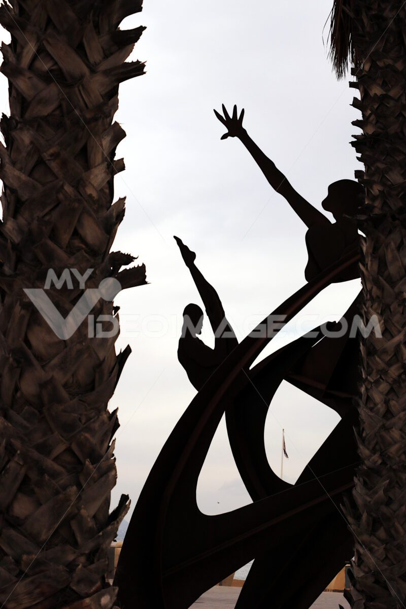 Barcelona, Spain. A corten steel sculpture in Barcelona. - MyVideoimage.com