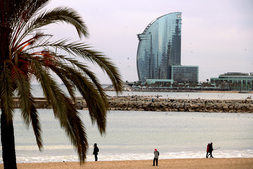 Barcelona, Spain. The skyline of Barcelona with the sea, the beach and modern buildings - MyVideoimage.com