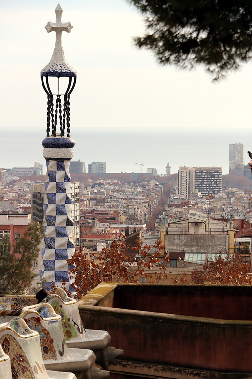 Terrace of the Guell Park. Barcellona foto. Barcelona photo.