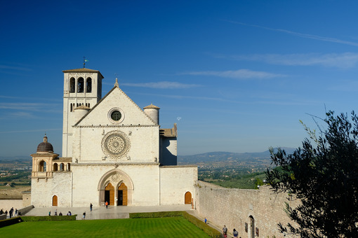 Basilica of San Francesco with the lawn with green grass in front and the blue sky. - LEphotoart.com
