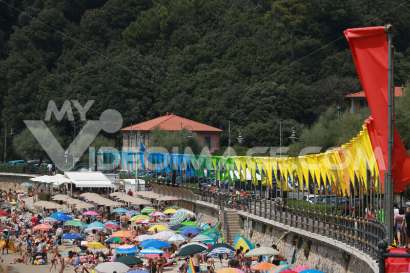 Beach with row of colorful flags and umbrellas. - MyVideoimage.com