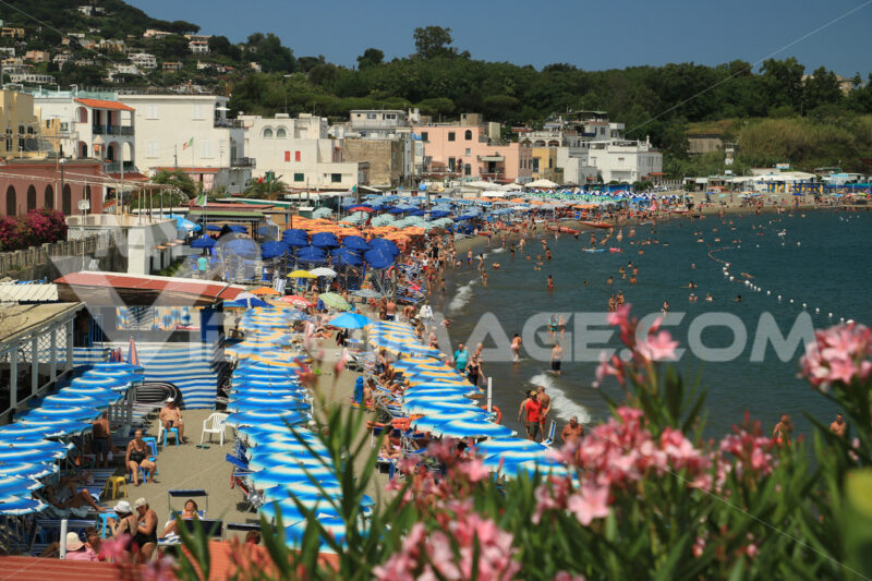 Beach with umbrellas, sunbeds and deck chairs. Bathing establishments and houses in the town of Ischia. - MyVideoimage.com