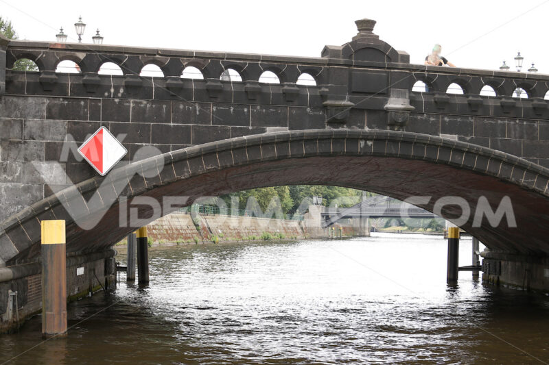 Berlin, Germany, 13 June 2018. Ancient stone bridge over the riv - MyVideoimage.com