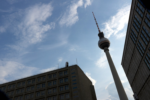 Berlin, Germany, 13 June 2018. The television tower at Alexander Platz. Foto Berlino.