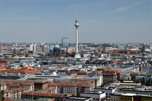 Berlin. 06/14/2018. Panoramic view from the top of a Potsdamer Platz. Foto Berlino.