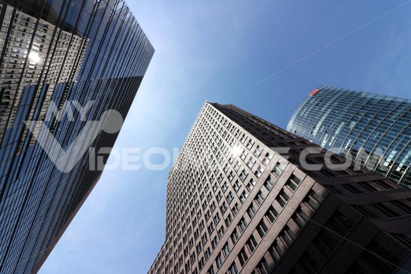 Berlin. 06/14/2018. Skyscrapers of Potsdamer Platz on the blue sky. Foto Berlino.