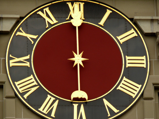 Bern, Switzerland. 08/02/2009. Clock face of antique Swiss watch. Foto Svizzera. Switzerland photo