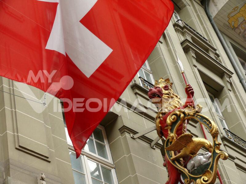 Bern, Switzerland. 08/02/2009. Flag and sign detail. Foto Svizzera. Switzerland photo