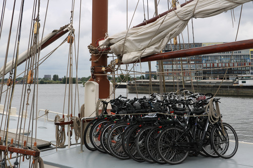 Bicycle parking on the deck of a sailing ship. - MyVideoimage.com
