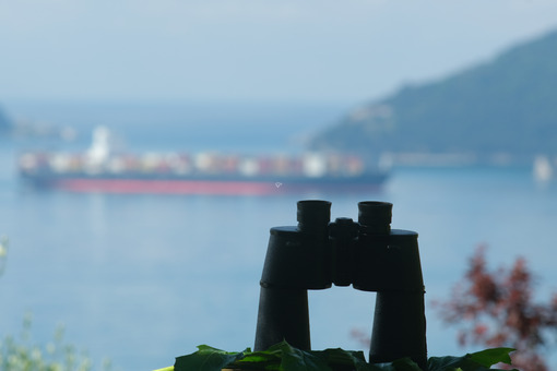 Binoculars resting on a table. Container ship cargo ship on the background. Ligurian Mediterranean sea in the Gulf of La Spezia. - LEphotoart.com