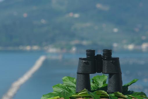 Binoculars resting. Ligurian Mediterranean sea in the Gulf of La Spezia. - MyVideoimage.com