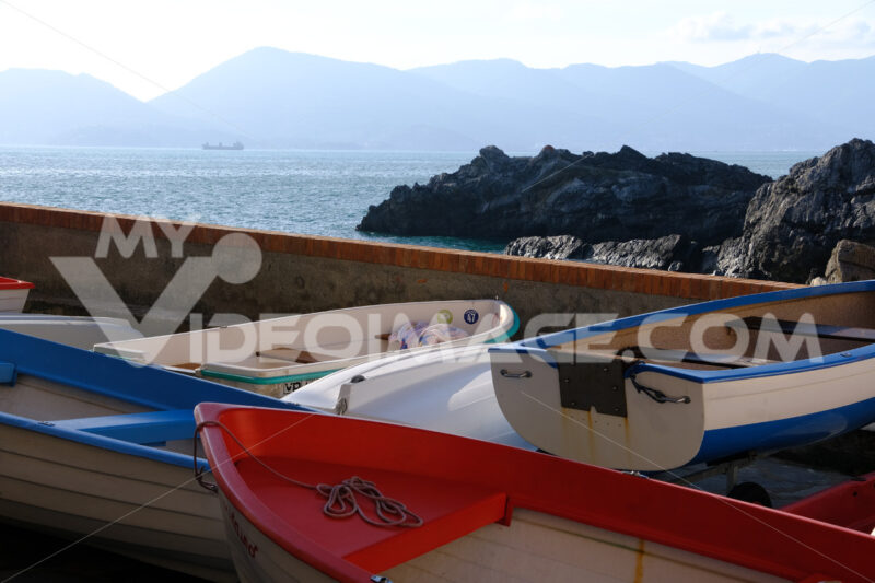 Boats in the village of Tellaro. In the background the sea of the Gulf of poets of La Spezia. - MyVideoimage.com