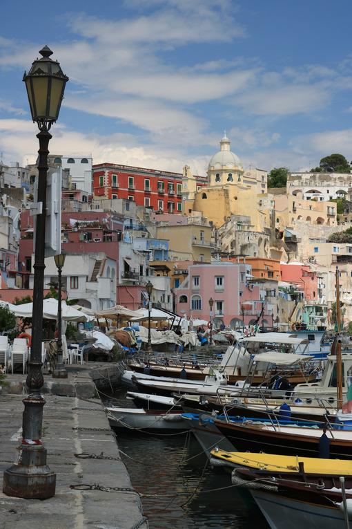Borgo di pescatori. Village of Marina Corricella, Procida Island, Mediterranean Sea, - MyVideoimage.com | Foto stock & Video footage