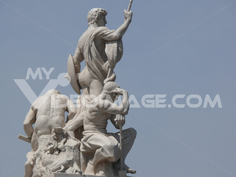 Botticino marble sculptures placed on the Altare della Patria in Rome. - MyVideoimage.com
