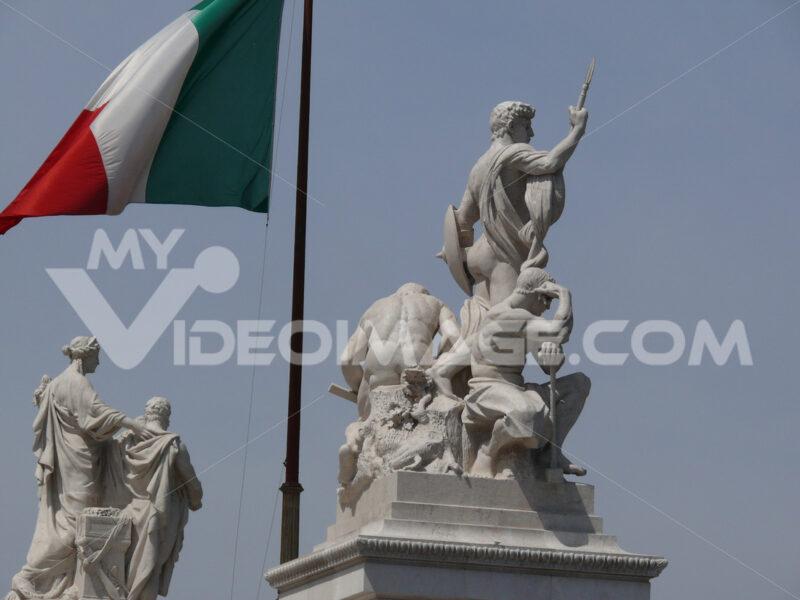 Botticino marble sculptures placed on the Altare della Patria in Rome. Roma foto. - MyVideoimage.com