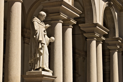 Brera Academy in Milan. A statue that adorns the courtyard. Arou - MyVideoimage.com