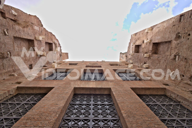 Brick walls at the Baths of Diocletian. Rome. - MyVideoimage.com