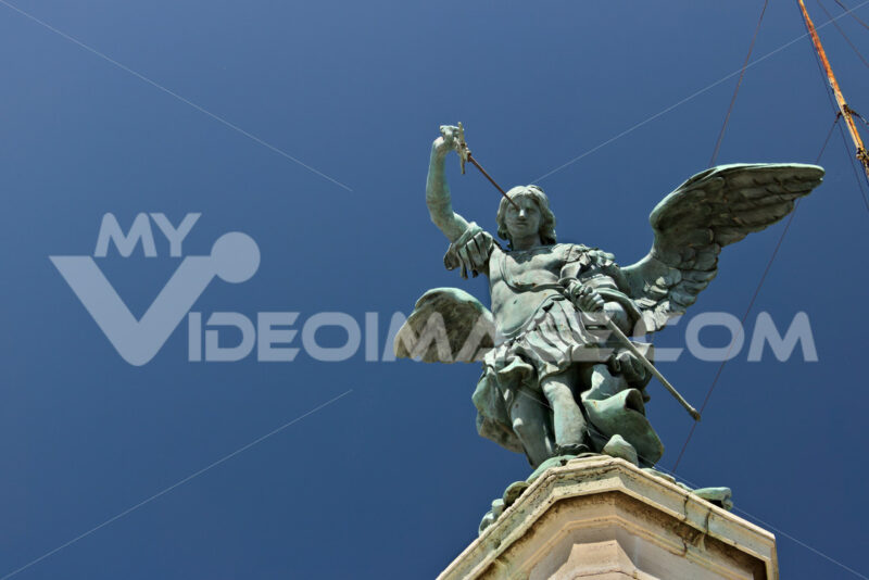 Bronze angel above Castel Sant'Angelo. - MyVideoimage.com