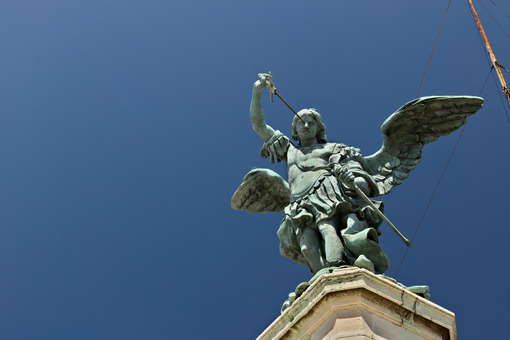 Bronze angel above Castel Sant'Angelo. - MyVideoimage.com