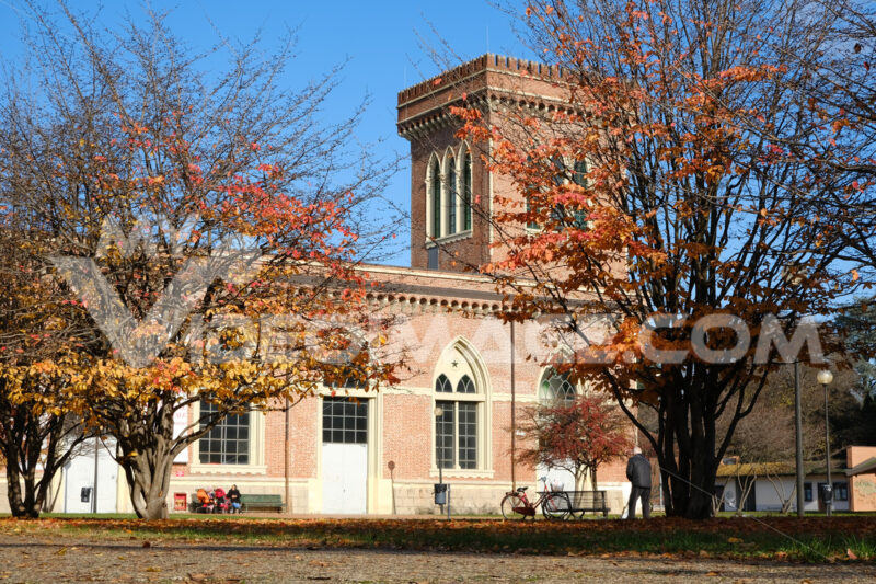 Building of the Carlo Ottolini Cotton mill today Textile Museum in Busto Arsizio. Neo-Gothic construction in terracotta bricks with turrets and ogival windows. Foto Busto Arsizio photo