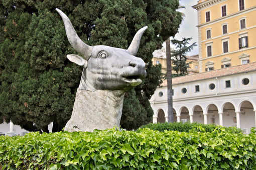 Bull head in Michelangelo's cloister in Rome. - MyVideoimage.com