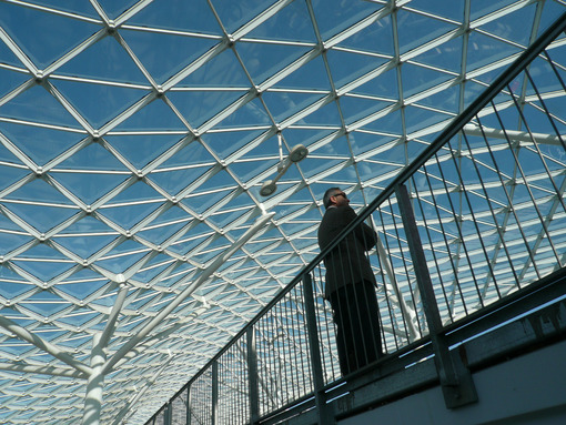 Businessman waiting inside a pavilion of the Milan fair. Modern architecture with steel and glass lattice structure. Milano foto - MyVideoimage.com