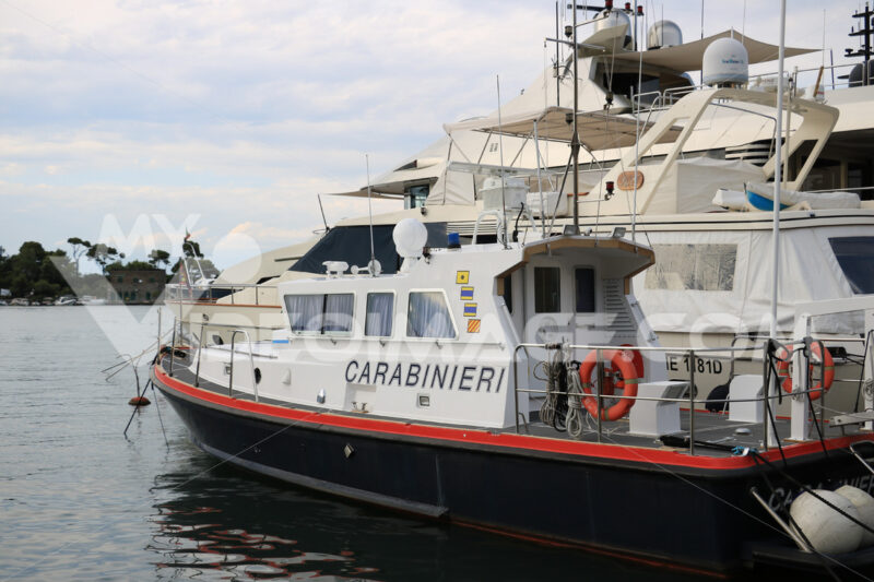 Carabinieri boat anchored in the port of Ischia, near Naples. - MyVideoimage.com