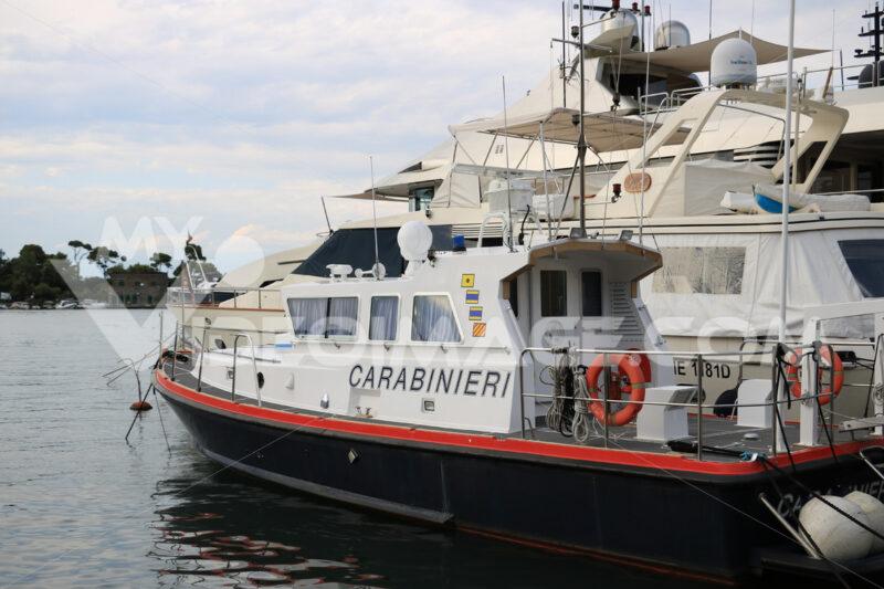 Carabinieri boat anchored in the port of Ischia, near Naples. - MyVideoimage.com