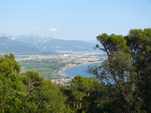 Carrara panorama. Panorama of Carrara and Apuan Alps with the plain of Marinella seen from the hill of Montemarcello. - MyVideoimage.com | Foto stock & Video footage