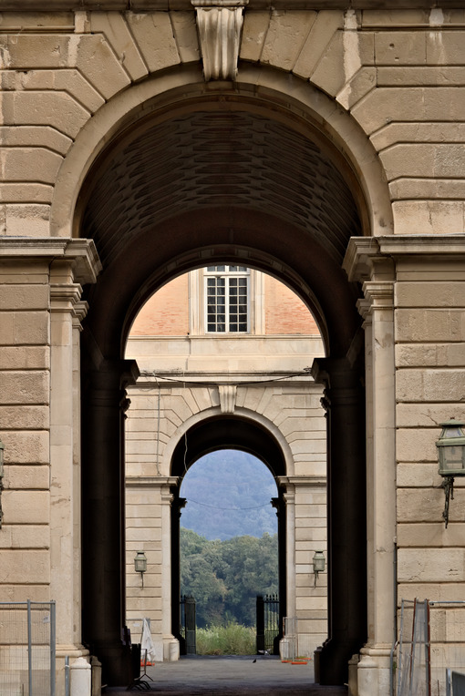Caserta, Italy. Access gates to the courtyards of the Royal Palace of Caserta (Italy). Foto reggia di Caserta.
