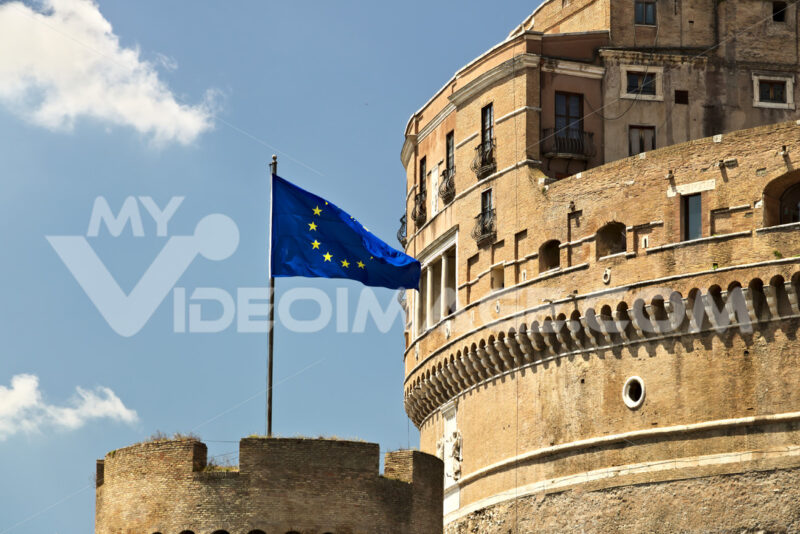 Castel Sant'Angelo with the European flag. Stock Photo royalty free. Roma foto. - LEphotoart.com